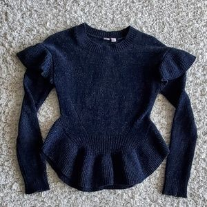 NAVY BLUE SWEATER - RUFFLED BOTTOM AND SHOULDERS.